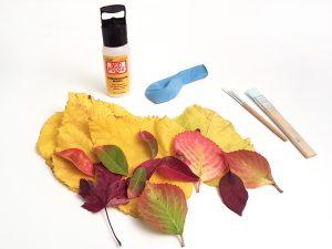 materiales cuenco hojas