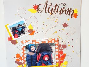 Autumn page hand stitch for scrapbooking