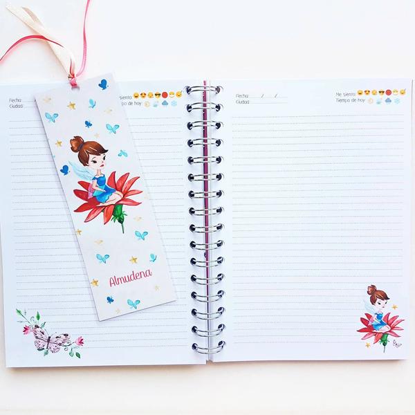 diario mariposas y hadas personalizado paginas interiores y marcapaginas
