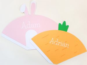Bunny and carrot cones printed