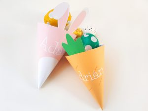 Bunny and carrot cones with chocolate eggs