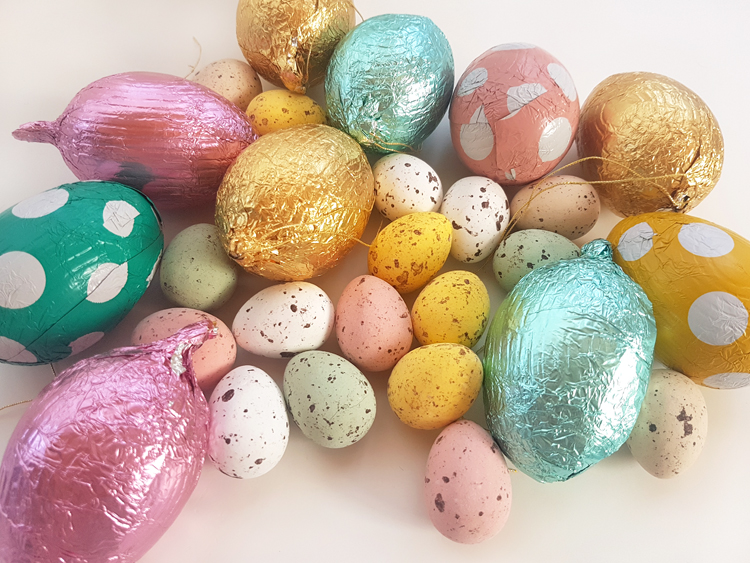 Colorful chocolate eggs for easter hunt