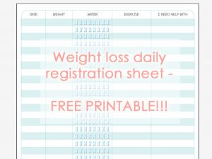 Weight loss registration sheet cover