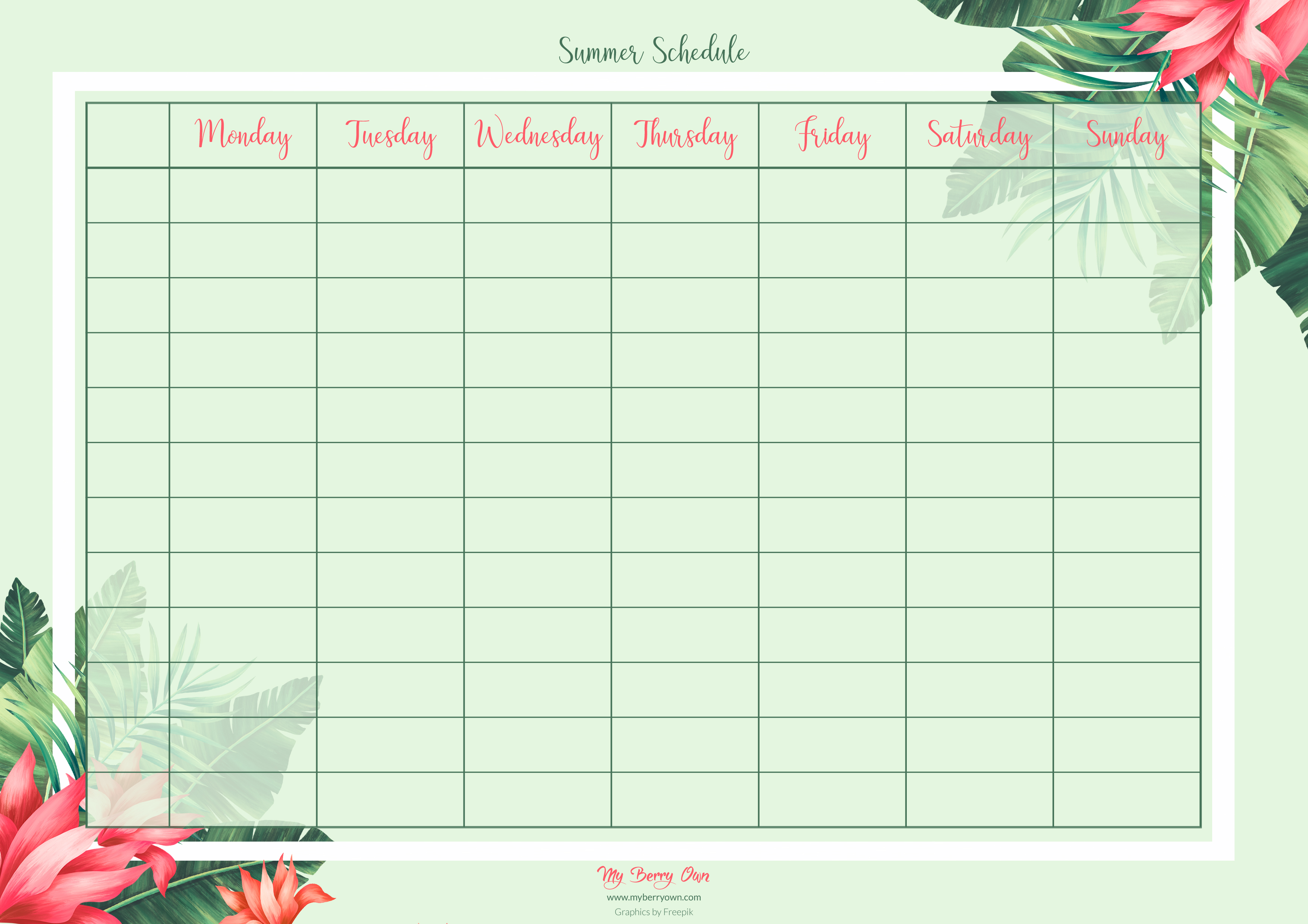 Tropical Weekly Schedule