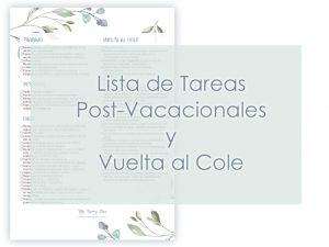 Lista de tareas post-vacacionales y vuelta al cole