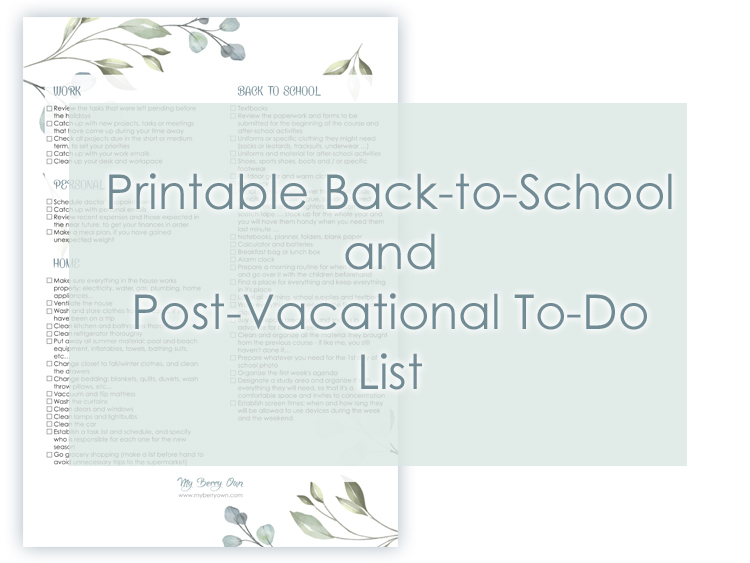 Post-vacational and Back-to-School To-Do List