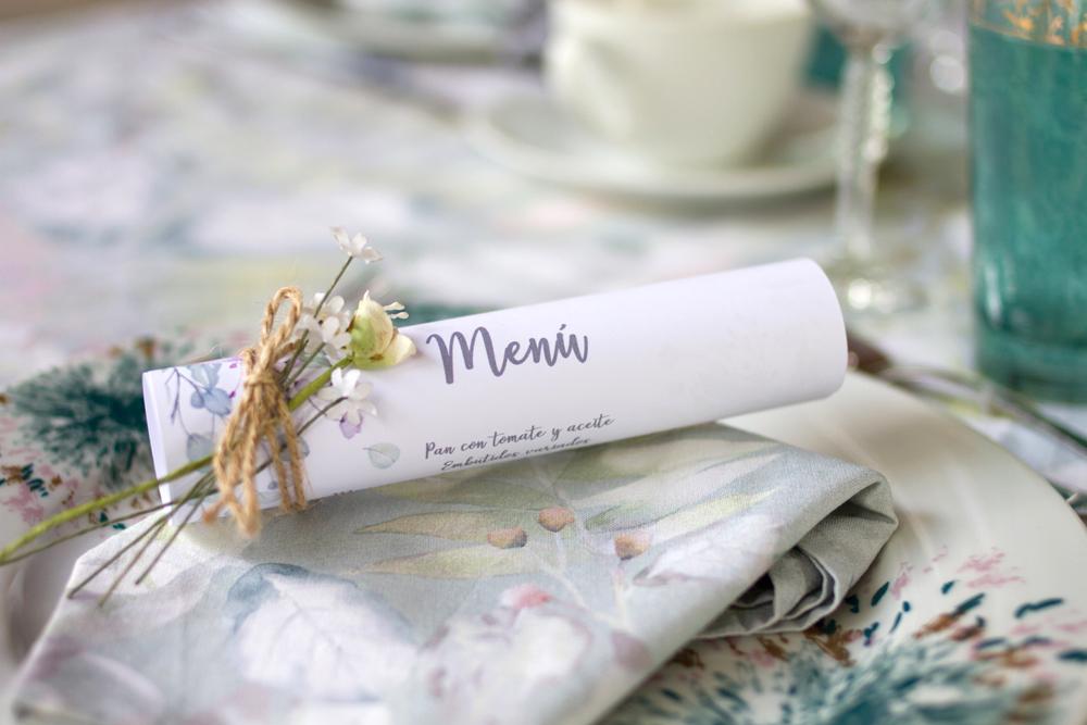 Bridal Shower menu on table