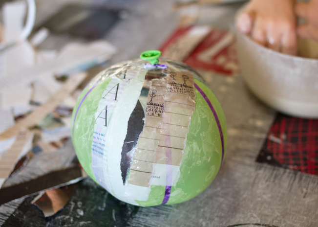 Paper mache pumpkin in process