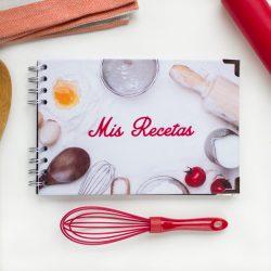 Recetario personalizado ingredientes blanco texto rojo