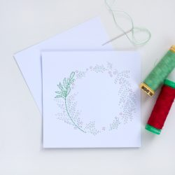 Paper stitch wreath card in process