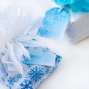 Etiquetas navidad azul copo de nieve