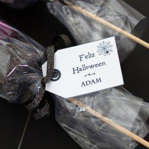 Etiqueta telaraña brochetas chuches halloween