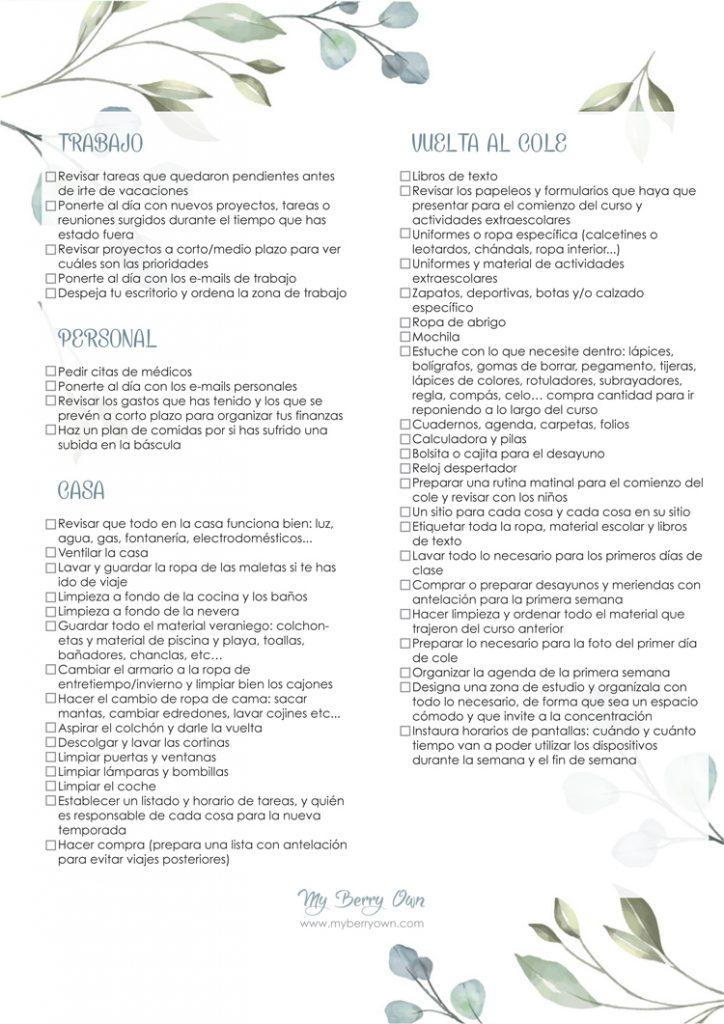 Lista de tareas post vacacionales y vuelta al cole