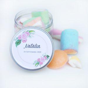Tarros golosinas personalizados colores pastel chuches candy bar