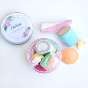 Tarro golosinas pastel etiqueta personalizada