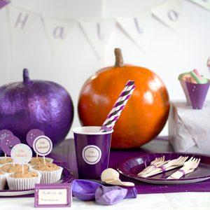 kit Halloween araña morada mesa fiesta merienda