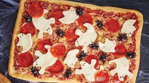 Receta halloween pizza fantasmas