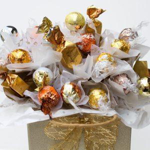 centro bombones Navidad dorado mediano detalle regalo bombones