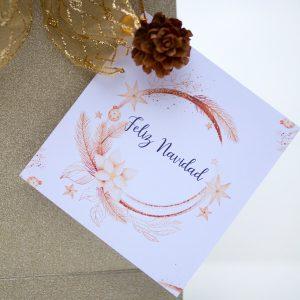 centro bombones dorado Navidad detalle etiqueta