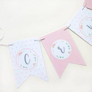 banderin kit fiesta rosa floral