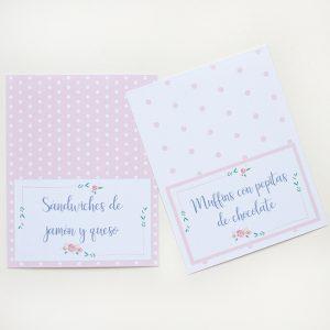 etiquetas mesa kit fiesta rosa floral
