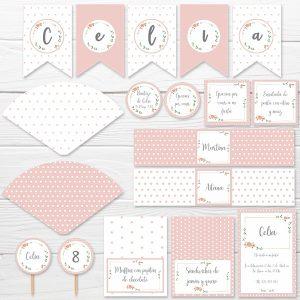 kit fiesta rosa floral montaje completo