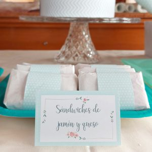 etiquetas mesa kit mint floral