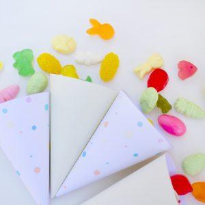 conos con chuches kit fiesta primavera pastel